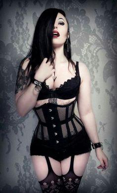Dark girl in dark lingerie