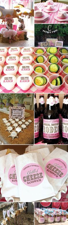 "Cowgirl Party - Pink Tutu, Boots, and Hat with Pink Checked Gingham Tablecloth - Mylar Horse Balloons - Hay Bales - Stick Ponies - Sheriff Badges - Veggies and ""Ranch"" Dressing - Rootbeer  Cute idea for Lexi's birthday"