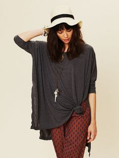 Free People Big Dipper Oversized Tee Charcoal T Shirt