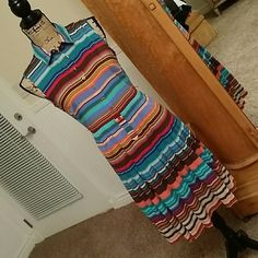 Calvin Klein Stripe Dress Size 6 beautiful dress from Calvin  Klein form fitting with pleated skirt. Comfortable fit with stretch to the fabtic. Calvin Klein Dresses Midi