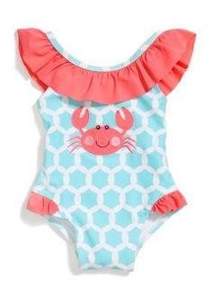 db22c6d03cd0 Nursery Rhyme Play 1-Piece Crab Applique Bathing Suit Baby Swimwear