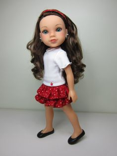 Hearts 4 Hearts doll clothes - White Tshirt  with  red print ruffle skirt by JazzyDollDuds,