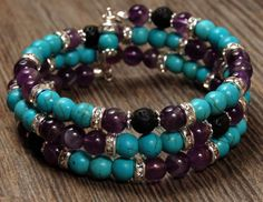 Amethyst & Turquoise Memory Wire Bracelet with Lava Stones