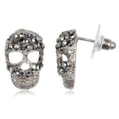 Fashion Black Crystal Black Tone Cute Skull Stud Earring 1.3 * 1.9cm W*L - Beta Jewelry Beta Jewelry,http://www.amazon.com/dp/B00DY59SDI/ref=cm_sw_r_pi_dp_CPbLsb1ATW72C5Z5