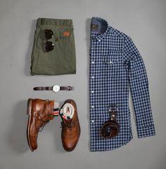 blue flannel button down - men's outfit grid Style Casual, Casual Wear, Casual Outfits, Men Casual, Style Men, Casual Styles, Summer Outfits, Fashion Mode, Mens Fashion