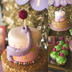 Cake at a Horton Hears a Who Elephant Birthday Party via KarasPartyIdeas.com #horton #elephant #drseuss #lavenderandgold