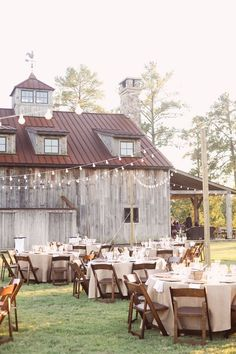 Rustic wedding tables.