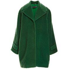 Rochas Emerald Green Peluche Wool Oversize Coat (40 675 ZAR) ❤ liked on Polyvore featuring outerwear, coats, jackets, coats & jackets, emerald green, emerald green wool coat, oversized coat, rochas, wool coat and rochas coat