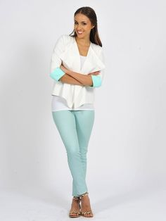 Diligo white Spring blazer with mint turnup  | www.diligo.co.za White Springs, Spring Jackets, White Jeans, Spring Summer, Mint, Blazer, Fashion Design, Collection, Style