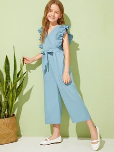 SHEIN offers Girls Pleated Armhole Tie Front Wide Leg Jumpsuit & more to fit your fashionable needs. Frocks For Girls, Cute Girl Outfits, Kids Outfits Girls, Little Girl Dresses, Girls Dresses, Girls Fashion Clothes, Tween Fashion, Teen Fashion Outfits, Kids Dress Wear