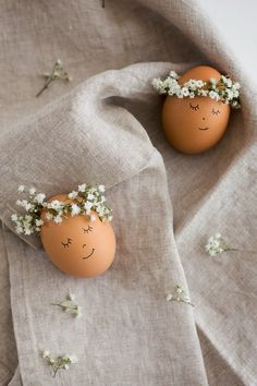 Floral Wreath Crowned Easter Eggs DIY - Flax & Twine