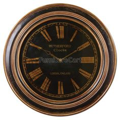 Buckley Clock Uttermost in Clocks. Distressed black finish with heavily antiqued golden bronze details. Clock face is under glass. Big Wall Clocks, Black Clocks, Clock Wall, Wall Art, Wall Clock Grandfather, Traditional Wall Clocks, Uttermost Mirrors, Pendulum Wall Clock, Tabletop Clocks