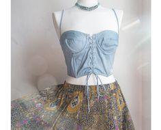 Vintage unique sweet blue lace up bustier by VintageVanillaShop