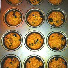 Banana blueberry oatmeal muffins! I mixed 1/2c. Applesauce, 3 very ripe bananas, 1tsp vanilla, two egg whites and 1/2c. Honey. Added in 2 c. Whole wheat flour and 3/4c. Oatmeal and 1.5tsp baking soda. I folded in fresh blueberries and baked at 350 for about 15-18 minutes.