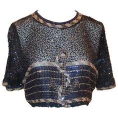 45b7af116effb Preowned Vintage Black   Gold Beaded And Sequined Crop Top With Anchor  Design - S