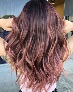Long Wavy Ash-Brown Balayage - 20 Light Brown Hair Color Ideas for Your New Look - The Trending Hairstyle Red Hair Color, Hair Color Balayage, Blonde Balayage, Hair Highlights, Ombre Hair, Rose Gold Balayage Brunettes, Brown Hair With Pink Highlights, Brown And Pink Hair, Blue Hair