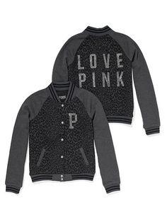 PINK Varsity Jacket in Dark Grey/ Animal Print $128