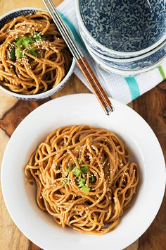 5 Easy, Healthy Dinners To Try This Week | refinery29 | Cold Spicy Peanut Sesame Noodles courtesy of Table for Two
