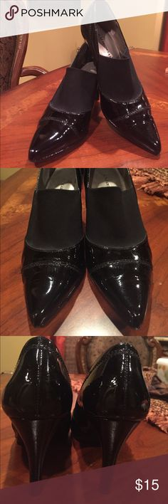 Classy! Black Heels! Classy Black Heels- Heels 3 1/2 inches...patent leather except for part that's in top of foot..its stretchable to fit your foot perfectly! Esp good for those with a high instep! Only flaw is on heel-few little scuffs that can only be seen if you look really really close - heel taps still in great condition! DONT MISS OUT ON THESE! Purchased:Dillard's A. Marinelli Shoes Heels