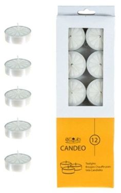 12 piece Unscented Tea Light Candles - White Case Pack 72