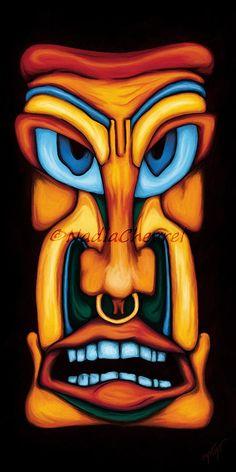Amazing sculpture en bois Tiki Masque 50 cm Nouveau design décoration murale multicolore