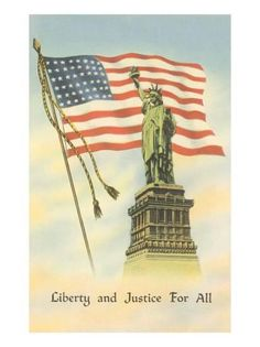 Offering a vintage 1942 color postcard. The postcard features the Statue of Liberty in front of a waving American flag. Liberty and Justice for All American Pride, American History, American Flag, I Love America, God Bless America, Independance Day, And Justice For All, Star Spangled Banner, United We Stand
