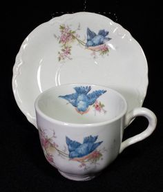 Vintage Homer Laughlin Bluebird China Demitasse Cup and Saucer