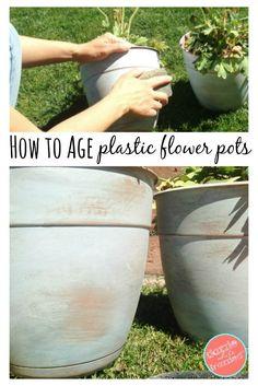 DIY Age Plastic Terra Cotta Flower Pots | Garden Ideas | Outdoor Decor | DIY Flower Pots | Spring Gardening