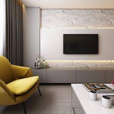 Belíssima e elegante inspiração de painel para TV!  Ficou lindo o ripadinho com o mármore! Quem mais amou?  (Projeto by Studio 83…