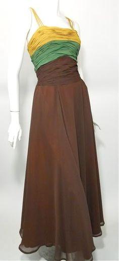 Saffron, jade and cocoa tri-color chiffon 1940s gown.