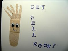 """Card-""""Boo-Boos""""- Get-Well-Soon-7 - Each 5.5"""" x 4"""" """"Boo Boos"""" series card is full of cheer and fun as you encourage your friend or loved one to """"Get Well Soon!"""" Each one is made by hand using a real bandaid or two, googly eyes, stamps for the lettering and a big smile. Blank inside for your message. Envelope included."""