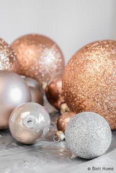 Kerstballen in koperkleur!