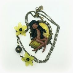 "Necklace with cameo "" little fairy "", polymer clay"
