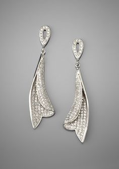 KAYLAH DESIGNS Micro-Pave Ribbon Drop Earrings