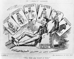 A satirical cartoon from the First World War, depicting a conscientious objector who stayed at home while the rest of his family contributed to the war effort. Q 103334
