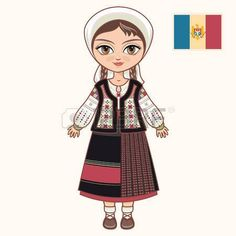 Doll in a Moldavian Suit Moldavia (Graphic) by zoyali · Creative Fabrica Body Preschool, Preschool Activities, Little Girl Illustrations, Republica Moldova, Easy Paintings, Historical Clothing, Graphic Illustration, Little Girls, Folk