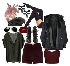 Untitled #466 by ironraven281 on Polyvore featuring polyvore fashion style Graumann Balmain River Island ilux Shoe Cult Lime Crime clothing