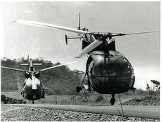 Alouette III's taking off. The Alo, the first helicopter I flew...