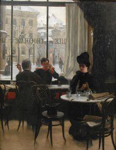 At the Cafe - Robert Koehler c. 1886-87 (German painter 1850-1917)