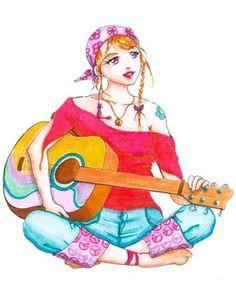 Jeune femme à la guitare. Feutres.