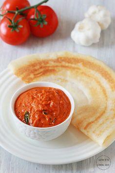 Easy Chutney Recipe, Indian Chutney Recipes, Indian Food Recipes, Vegetarian Recipes, Cooking Recipes, Vegan Meals, Garlic Chutney, Tomato Chutney, Indian Breakfast