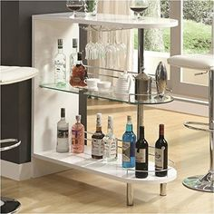 Wine Racks And Bottle Holders 20689 Contemporary Silver Metal Bar Unit With Glass Top By Coaster 100135 BUY IT NOW ONLY 17252 On EBay