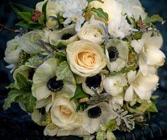 Spring bridal bouquet with Anemones, Ranunculus, Lisianthus, Veronica, Paperwhites, Dusty Miller.  www.eliseweddingflowers.co.uk