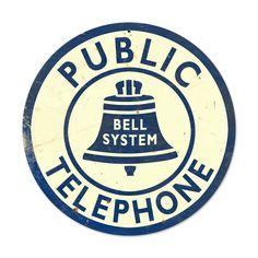 Bell Telephone Home and Garden Round Metal Sign - Victory Vintage Signs Man Cave Garage, Vintage Room, Style Vintage, Unique Vintage, Vintage Advertisements, Vintage Ads, Vintage Phones, Advertising Signs, Vintage Makeup