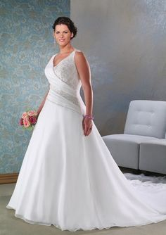 Elegant Chiffon A Line Plus Size Bridal Wedding Dress
