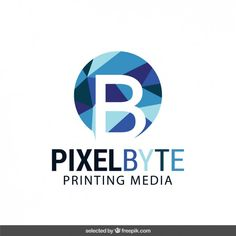 Logo with low poly circle Free Vector