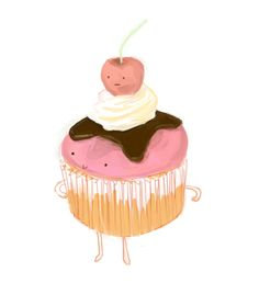 Paksoflife - Cupcake character design illustration with cherry on top - Food with faces. Cupcake Illustration, Cute Illustration, Character Illustration, Food Illustrations, Contemporary Illustrations, Cupcake Art, Cute Cupcakes, Cute Images, Stop Motion