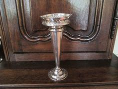 English Silver Plated Vase from topdraw on Ruby Lane Ruby Lane, Bud Vases, Plum, Silver Plate, Porcelain, English, Antiques, Table, Furniture