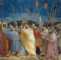 Giotto, Kiss of Judas, part of the Arena Chapel fresco cycle in Padua, 1303–05. De Agostini Picture Library / A. Dagli Orti / Bridgeman Images