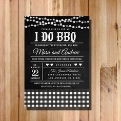 I Do BBQ Invitation String Lights & Gingham by FateandFourtune